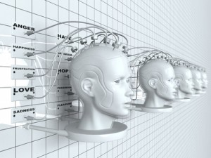 3D rendering illustration of robotic heads on a wall